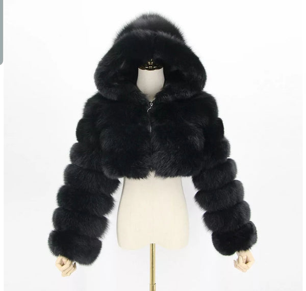 Fox fur hooded crop jacket
