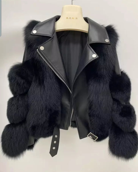 Leather lined fox fur