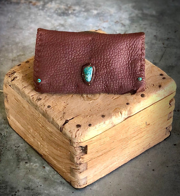 Leather Wallet Handstitched with Turquoise