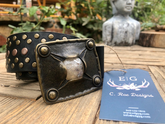 Custom Leather Belt with Vintage Buckle
