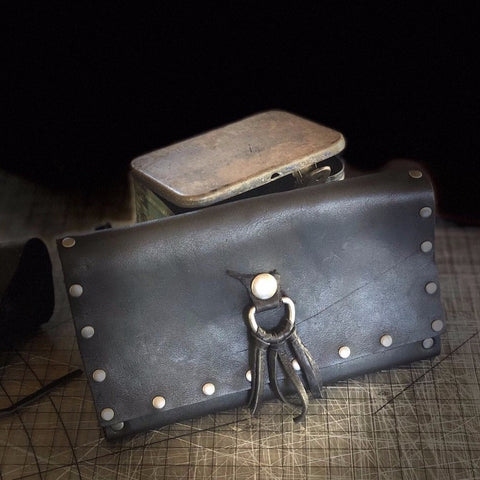 Wallet Handstitched Leather with Matte Silver Accents