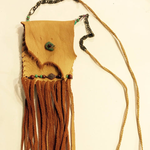 Deer Leather Necklace Pouch with Turquiose Accents