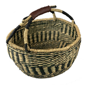 Handwoven Seagrass Market Basket Black & Natural