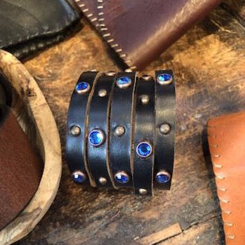 Leather Bracelet Adorned with Crystals