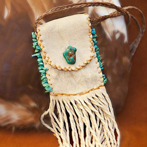 Deer Skin Necklace Bag with Turquoise Edge
