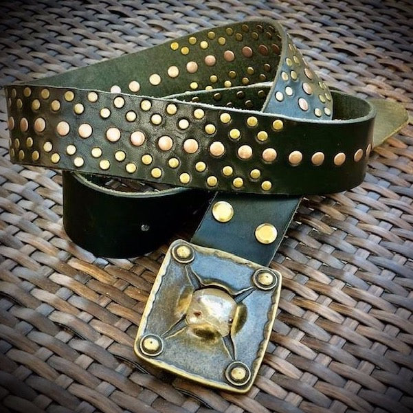 Leather Belt with Vintage Italian Brass Belt Buckle