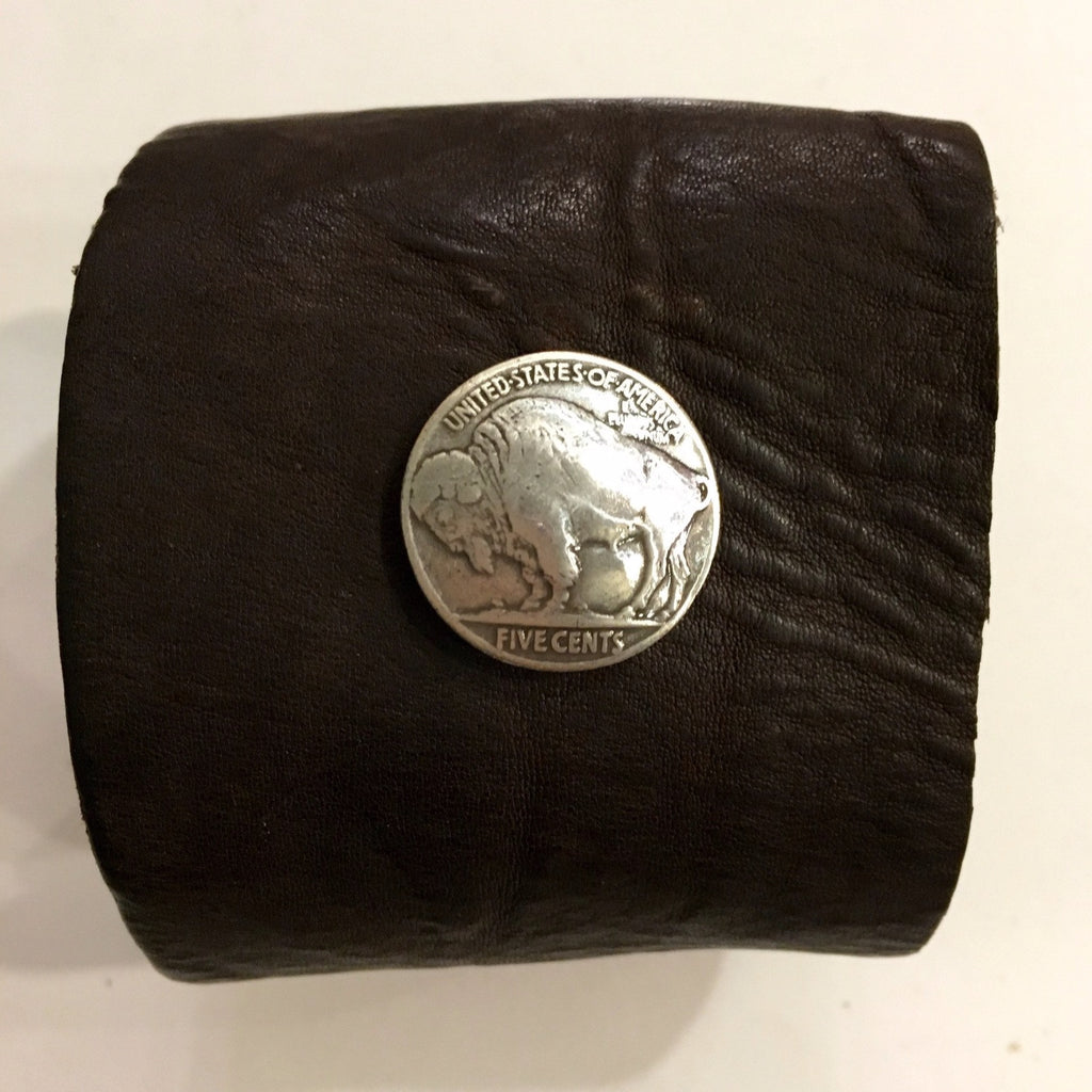 Leather Cuff with Buffalo Nickel
