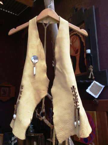 Rustic Elk Hide Vest with Open Back