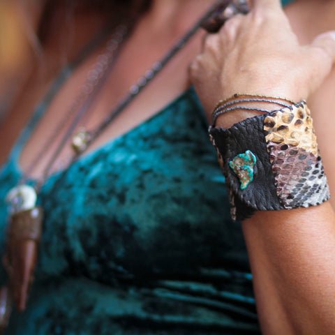 Bracelet Cuff, Leather with Snakeskin