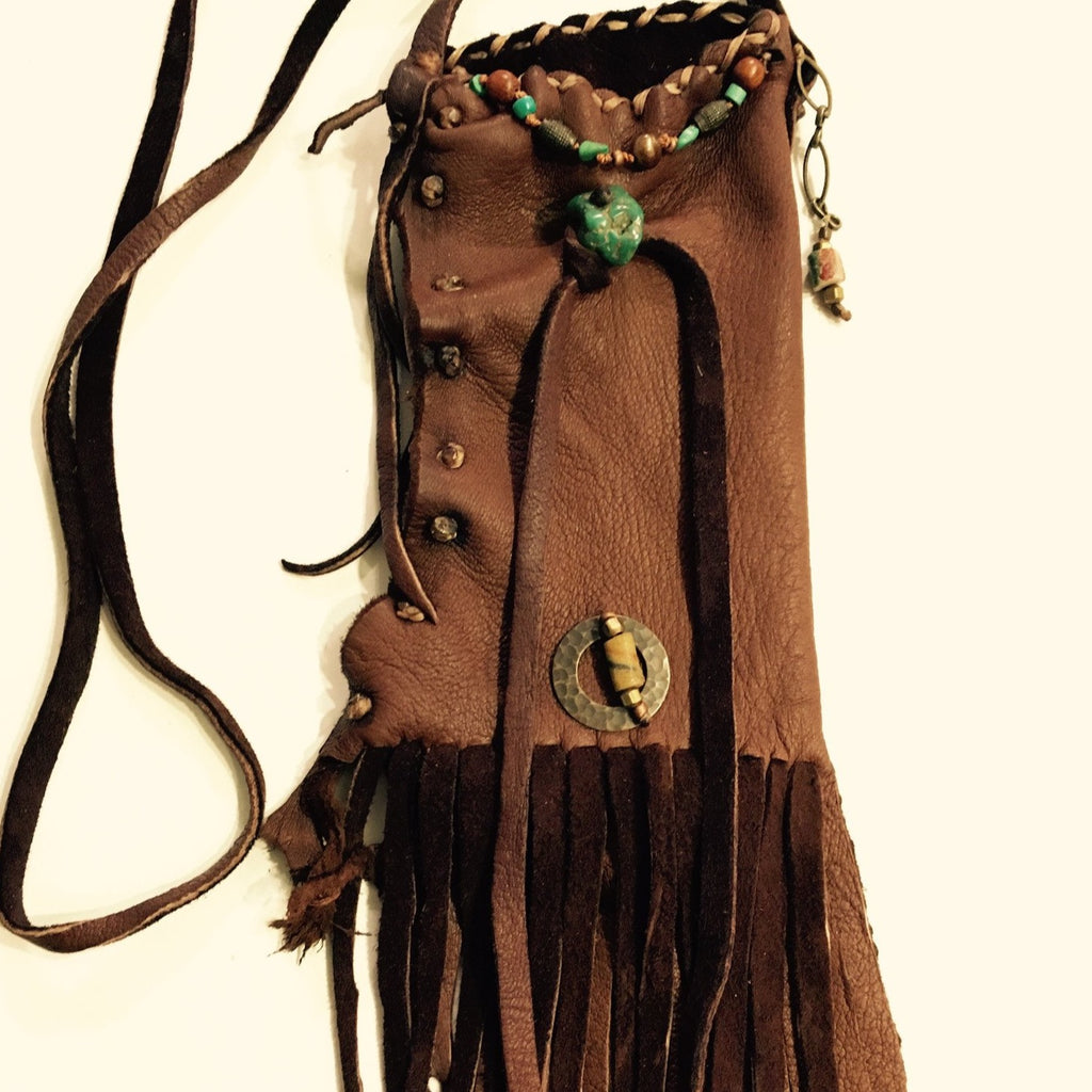Deer Leather Necklace Pouch with Turquoise Accents