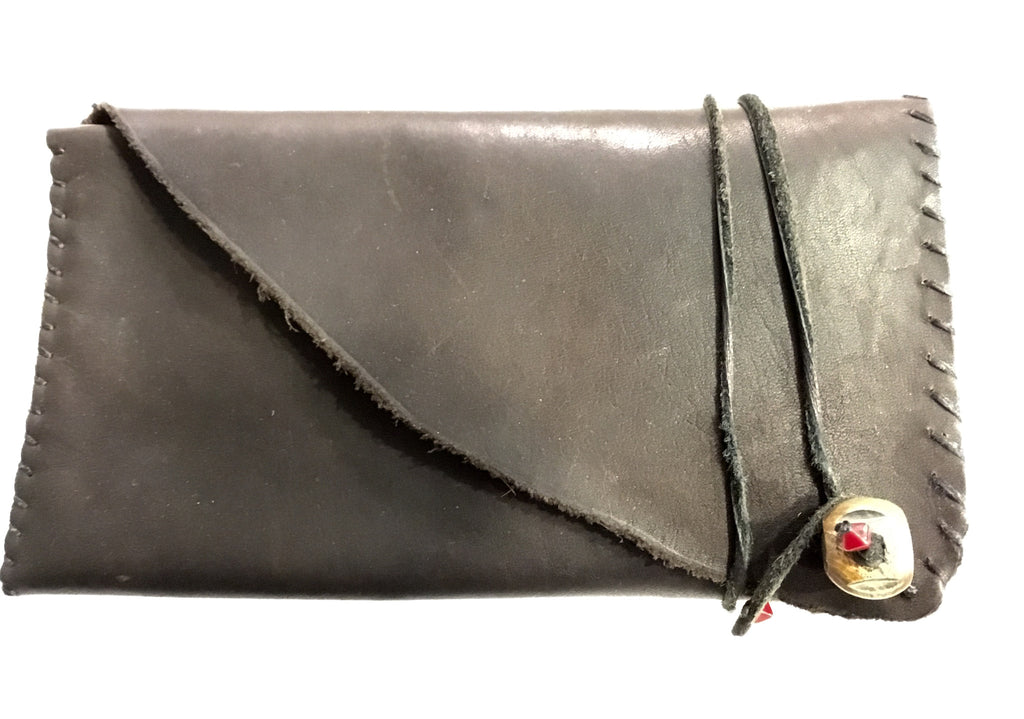 Leather Wallet Handstitched with Coral Wrap Closure