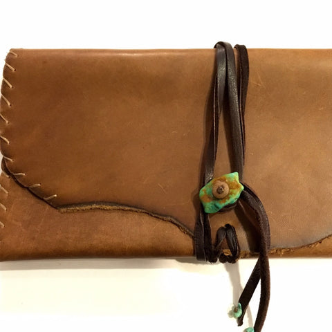 Leather Wallet Handstitched with Turquoise Closure