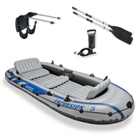 Inflatable Raft and Fishing Boat with Oars + Motor Mount