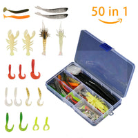 50 Piece Earthworm for Fishing Shrimps Lures Crankbaits Hooks Baits