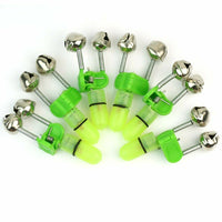 10x LED Night Fishing Rod Bite Bait Alarm Light Twin Bells Clip Alerter Tool US