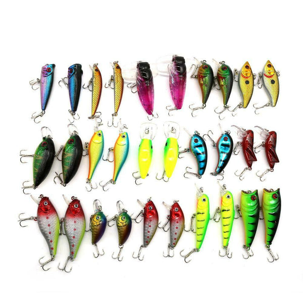 Lot 30pcs Mixed Fishing Lures Assorted Minnow Lure Bass Crank Bait Tackle