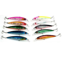 Internal Color Minnow Floating Fishing Lures Bass CrankBait Rattles 10 Pack