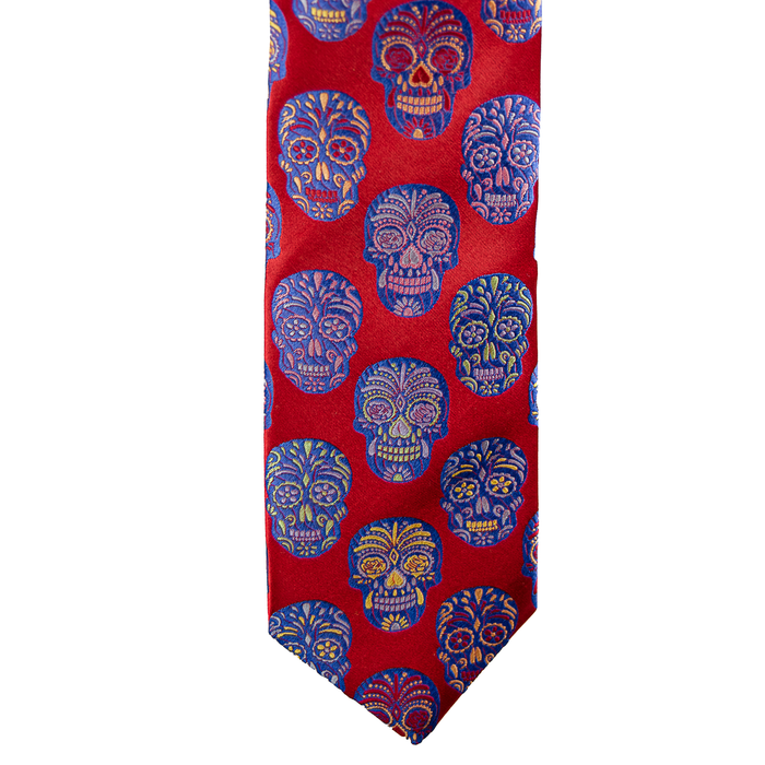 Van Buck Limited Edition Tie - Candy Skulls Red