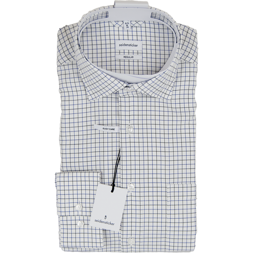 Seidensticker Shirt - White Mini Check - Livingston - Castle Douglas