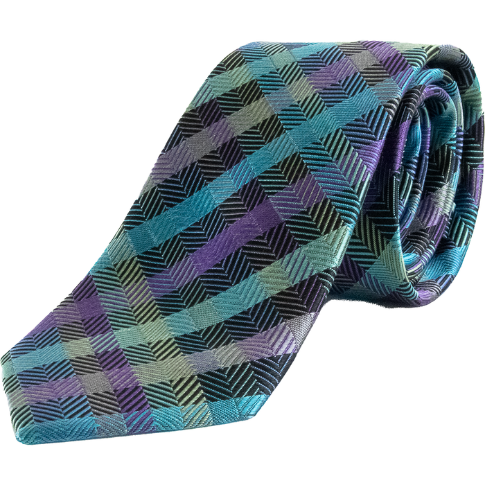 Van Buck Check Tie - Aqua / Lilac - Livingston - Castle Douglas