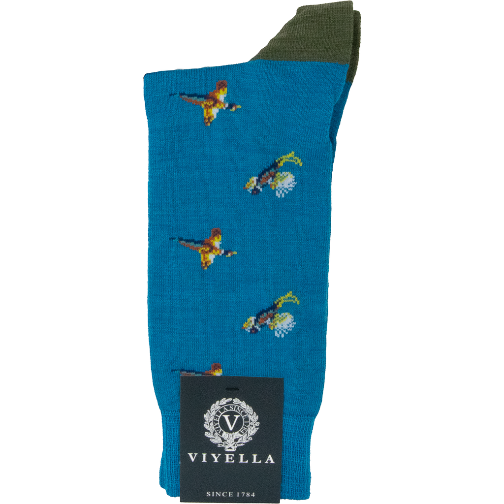 Viyella Pheasant Wool Mix Sock - Cerulean Blue - Livingston - Castle Douglas