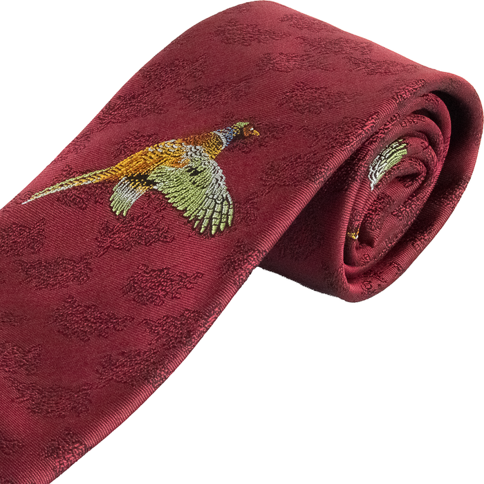 Van Buck Single Pheasant Sporting Tie - Wine - Livingston - Castle Douglas