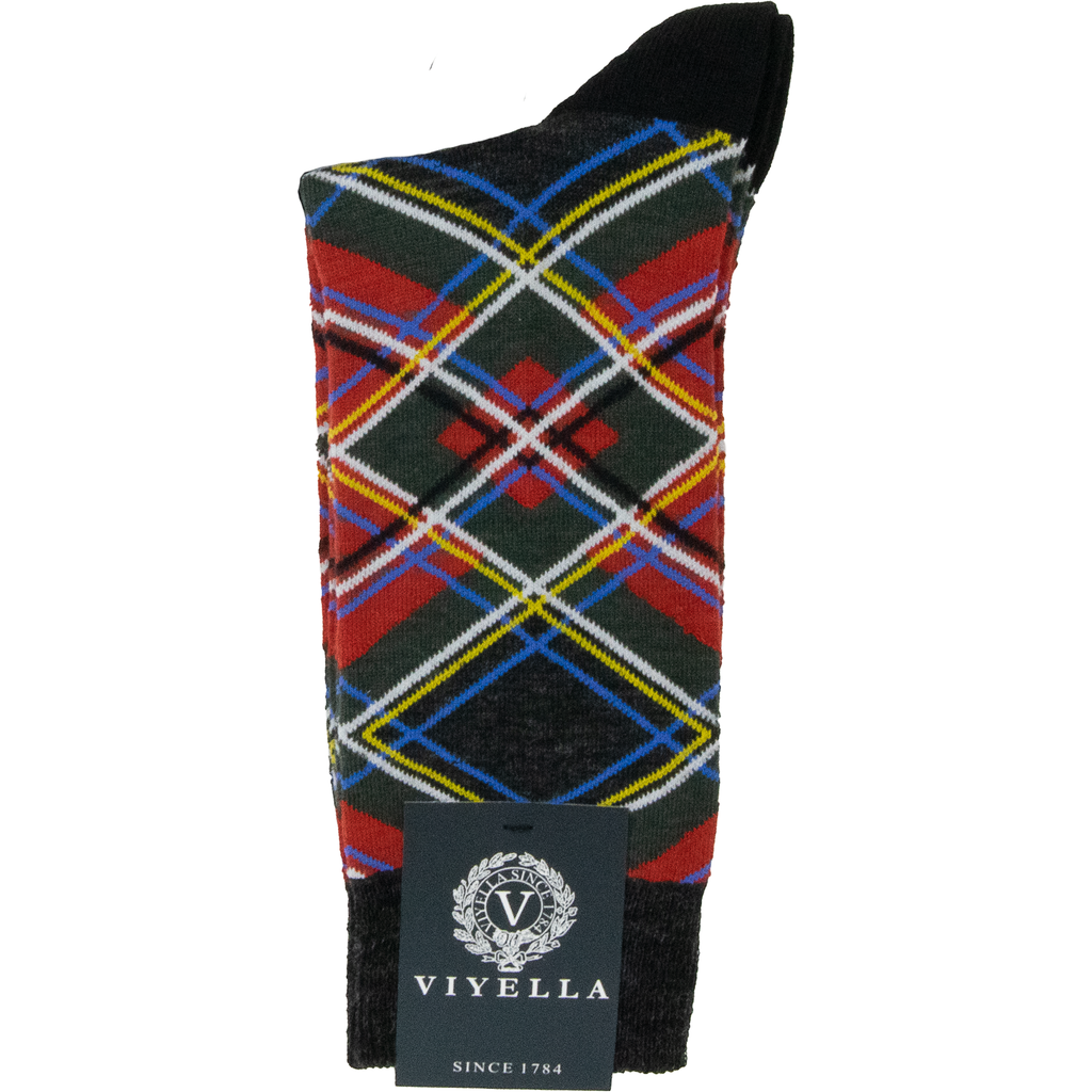 Viyella Tartan Wool Mix Sock - Red - Livingston - Castle Douglas