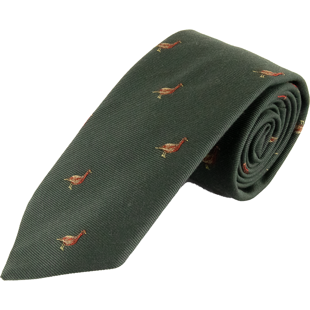 Wool and Silk Grouse Tie - Livingston - Castle Douglas