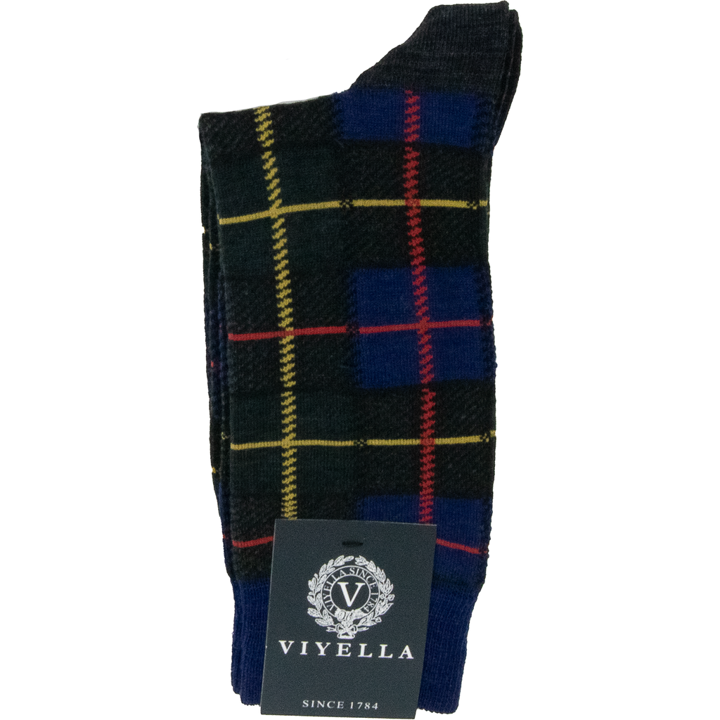 Viyella Tartan Wool Mix Sock - Green - Livingston - Castle Douglas