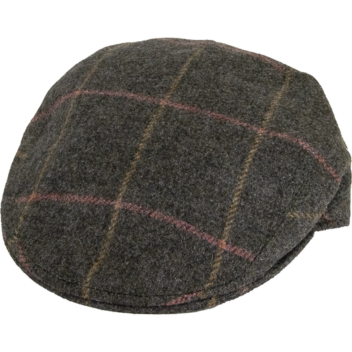 Olney Kinloch Saxony Tweed Cap -  Taupe Window - Livingston - Castle Douglas
