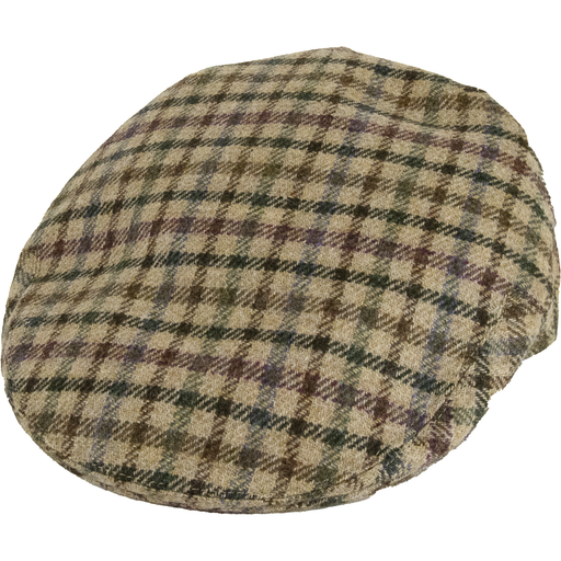 Olney Kinloch Saxony Tweed Cap -  Fawn Sporting - Livingston - Castle Douglas