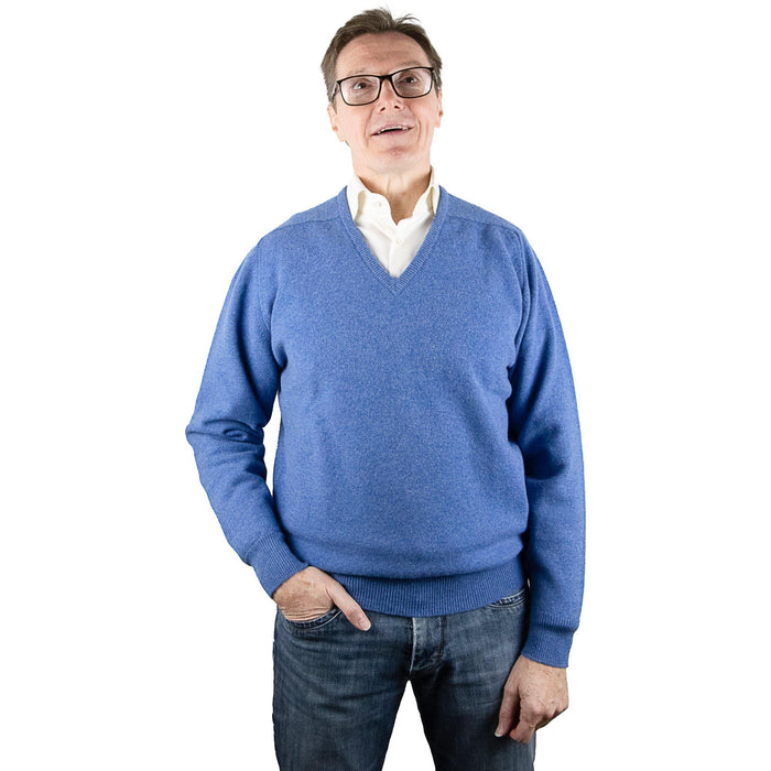 William Lockie Lambswool Pullover - Clyde Blue