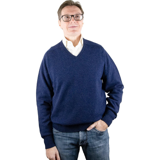 William Lockie Lambswool Pullover - Astra Blue