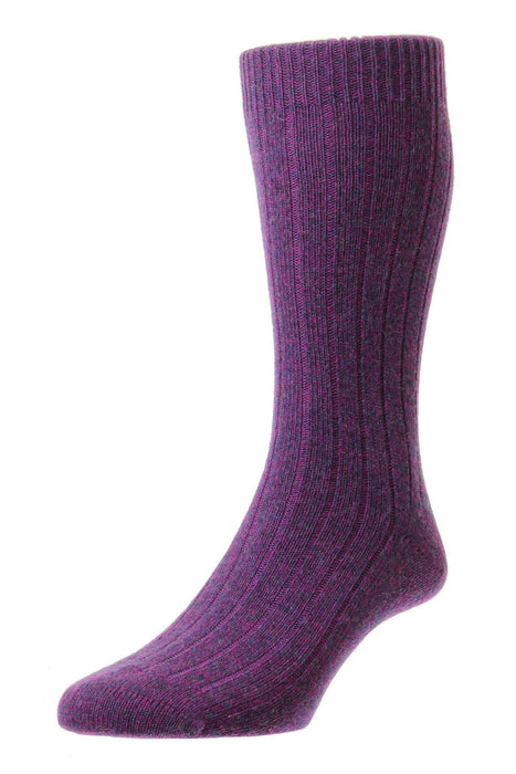 Pantherella Cashmere Socks - Magenta / Denim - Livingston - Castle Douglas