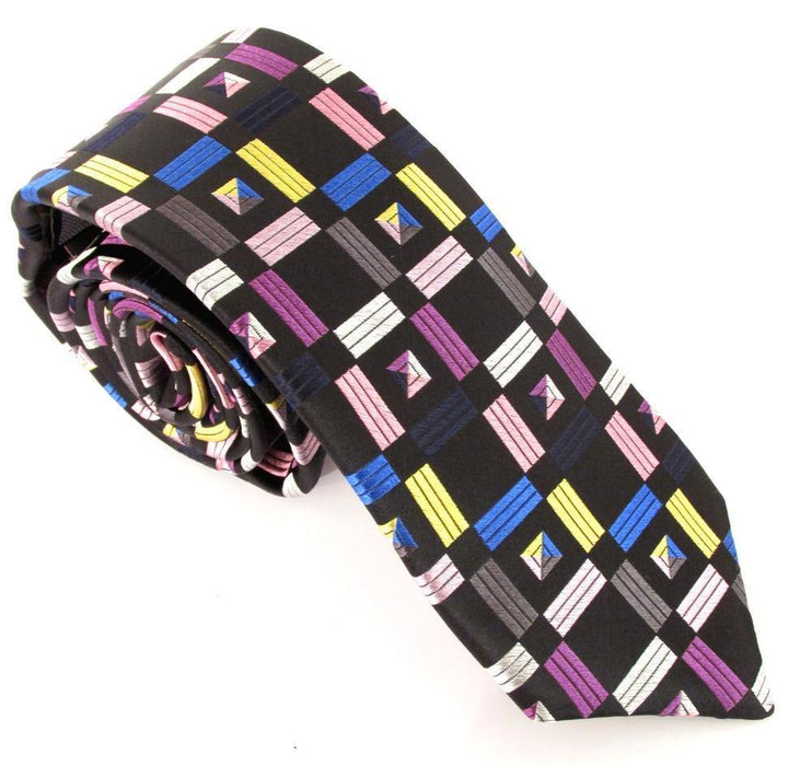 Van Buck Limited Edition Tie - Geometric Squares Black