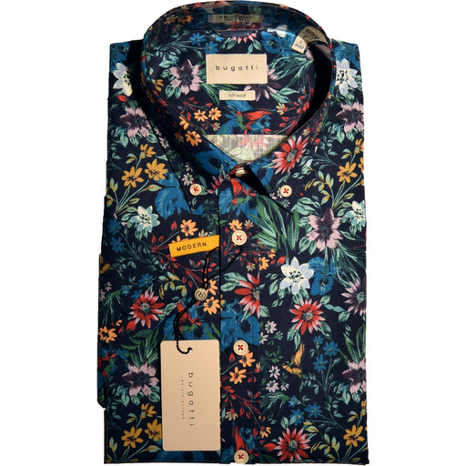 Bugatti Floral Print Short Sleeve Shirt - Navy/Multi - Livingston - Castle Douglas