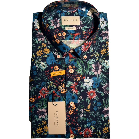 Bugatti Floral Print Short Sleeve Shirt - Navy/Multi