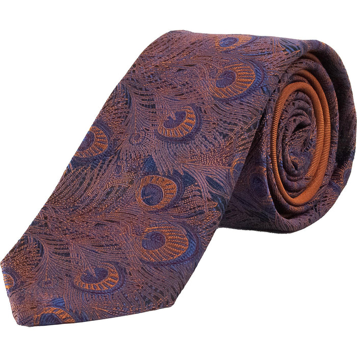 Michaelis Peacock Design Tie - Copper / Navy