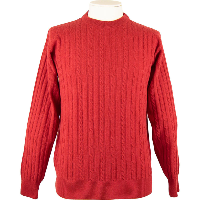 Cabled Lambswool Pullover - Poppy