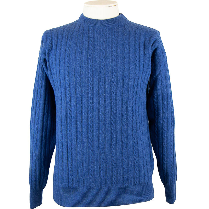 Cabled Lambswool Pullover - Royal