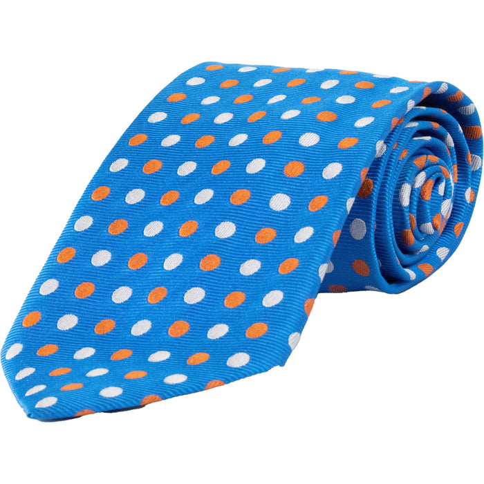 Double Spot Ribbed Silk Tie - Oxford Blue