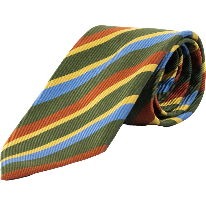 Bold Stripe Ribbed Silk Club Tie - Green / Red