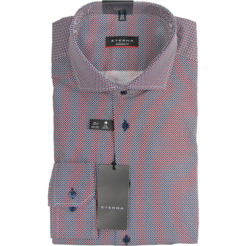 Eterna Patterned Shirt - Red / Navy - Livingston - Castle Douglas