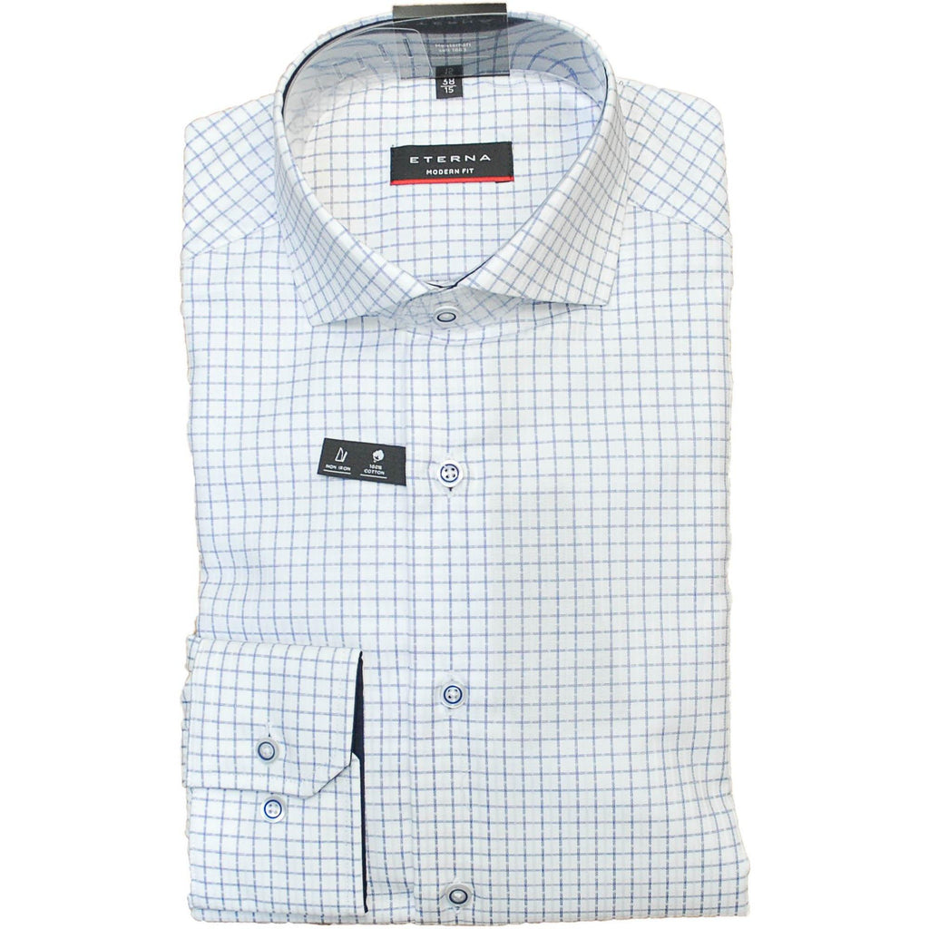 Eterna Grid Check Shirt - Blue - Livingston - Castle Douglas