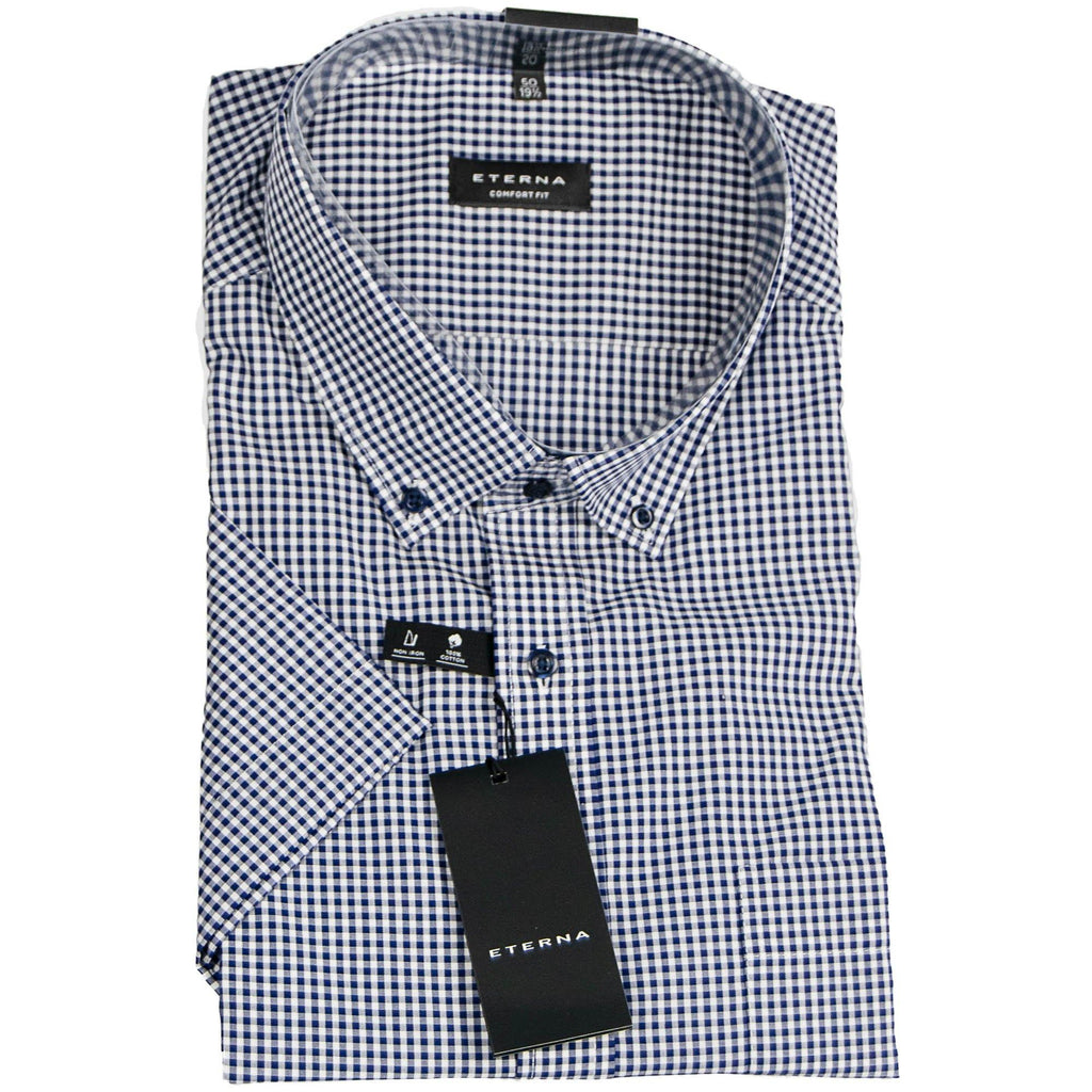Eterna Micro Check Short Sleeve Shirt - Navy - Livingston - Castle Douglas