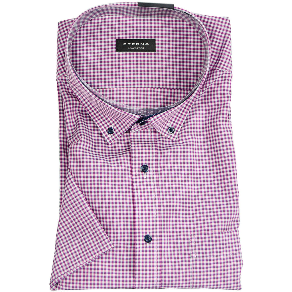 Eterna Micro Check Short Sleeve Shirt - Fuchsia - Livingston - Castle Douglas