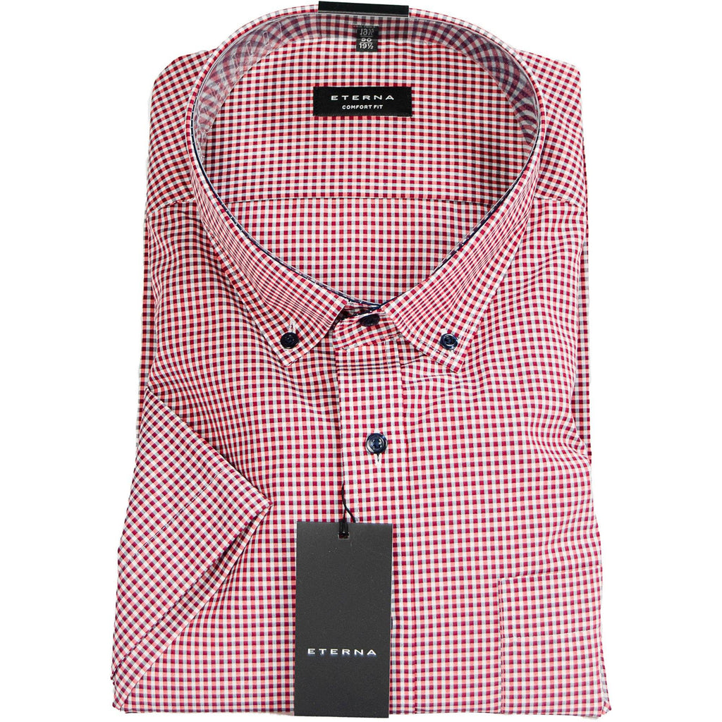 Eterna Micro Check Short Sleeve Shirt - Bordeaux - Livingston - Castle Douglas