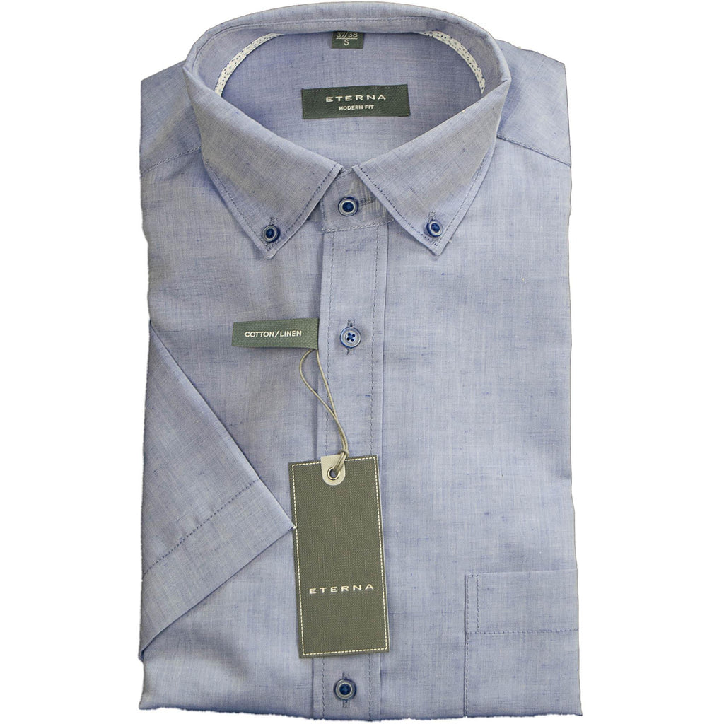 Eterna Cotton & Linen Shirt - Blue - Livingston - Castle Douglas