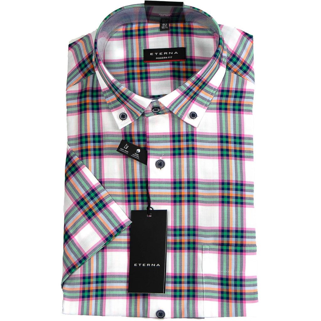 Eterna Short Sleeve Check Shirt - Pink / Multi - Livingston - Castle Douglas