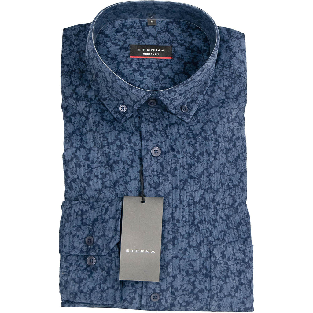 Eterna Printed Cord Shirt - Blue - Livingston - Castle Douglas